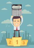 Winner standing in first place on a podium with calculator Royalty Free Stock Images