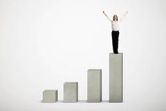 Winner standing on top of concrete diagram Stock Photo