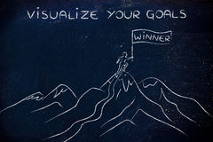 Winner standing on top of a mountain, visualize your goals Stock Photography