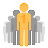 Winner  stick figure, vector. Leader of the winner in the crowd - stick figure Royalty Free Stock Images