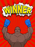 Winner in style of pop art. African American boxer wearing blue Stock Image