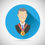 Winner Success Businessman Victory Prize Award. Symbol Bust with Medal Icon on Stylish Background Modern Flat Design Vector Illustration Stock Images