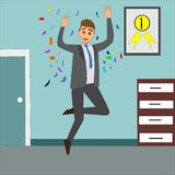 Happy businessman jumping in his office. Stock Photo