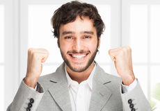 Winner: successful young business man Stock Photo