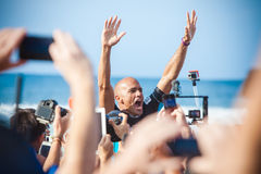 Winner Surfer Kelly Slater at Pipeline in Hawaii Royalty Free Stock Images