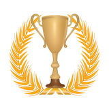 Winner symbol with golden laurel garland. Winner cup with laurel wreath Stock Images