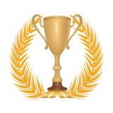 Winner symbol with golden laurel garland. Stock Images