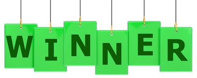 Winner tag banner. Winner 3d rendered green tag banner , isolated on white background vector illustration