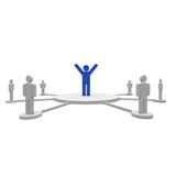 Winner team. A person in blue around of other people Royalty Free Stock Photos