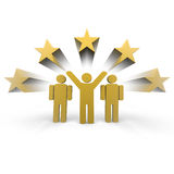 Winner team. Three people one with hands up Royalty Free Stock Photo