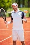 Winner in tennis match Stock Photo