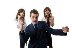 The winner. Three business people. stock image