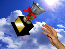 The winner trophy. Catch the trophy, you are the winner Stock Images