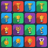 Winner trophy and award icons in flat style Royalty Free Stock Photos