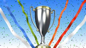Winner trophy cup rotating with ribbons and confetti behind. 3D illustration render. Winner trophy cup rotating with confetti and ribbons behind. 3D illustration stock illustration