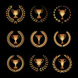 Winner Trophy Cup Silhouette Set with circular laurel foliate an Stock Photos