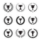 Winner Trophy Cup Silhouette Set with circular laurel foliate an Royalty Free Stock Photography