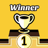 Winner trophy with first prize concept. Flat design Stock Images
