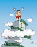 Winner. Vector iconceptul illustration cartoon man mountain top Stock Image