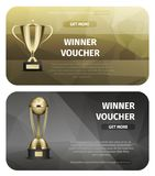 Winner Voucher with Gold Trophy for Victory Vector Stock Image