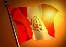 Winner waving Peru flag. Against the sunset stock illustration