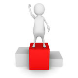 Winner white 3d man on the top pedestal Stock Image