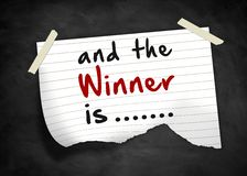 And the winner is. Note message Royalty Free Stock Photography