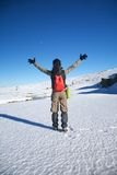 Winner winter hiking woman Royalty Free Stock Photography