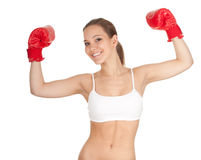 Winner woman in boxing gloves Stock Photos