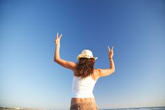 Winner woman with two arms up Stock Image