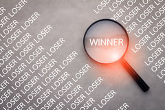 Winner word and magnify Royalty Free Stock Image