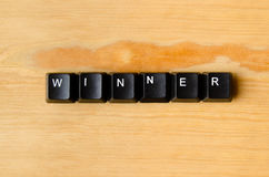 Winner word. With keyboard buttons Stock Photography
