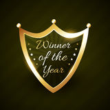 Winner of the year golden shiny label badge vector Royalty Free Stock Photos