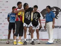 The Winner Yellow Jersey. KUALA LUMPUR, MALAYSIA-October 16: Youth and Sports Minister Datuk Seri Ahmad Shabery Cheek, awarding the prize to the winner at OCBC Stock Photo