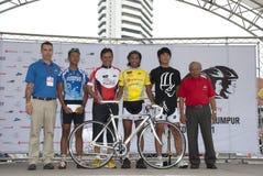 The Winner Yellow Jersey. KUALA LUMPUR, MALAYSIA-October 16: Youth and Sports Minister Datuk Seri Ahmad Shabery Cheek, awarding the prize to the winner at OCBC Royalty Free Stock Photo