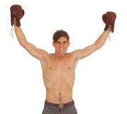 Winner young man with boxing gloves Stock Images