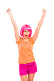 Winner young woman celebrating success. Stock Images