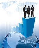 Winners. Successful business team is standing on a large graph Royalty Free Stock Photo