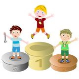 Winners kids podium isolated. Photo of a prize-giving of three winner kids isolated on white background. Eps file is available Stock Image