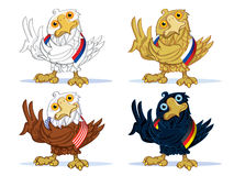 Winners. National Eagles as sports mascots with the flags of their countries, set Stock Photo