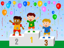 The Winners. Three kids medal winners on the podium, surrounded by a celebratory scene. Accepted for 'The Sporting Life' Assignment (april 2008 Royalty Free Illustration