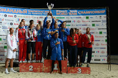 Winners of Beach Tennis World Team Championship 2015 Stock Photo