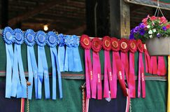 Winners Circle Ribbons. First, second and third place in show contest winners ribbons stock photography