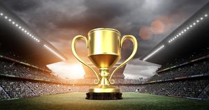 Winners cup in the stadium. An imaginary stadium is modelled and rendered Stock Image