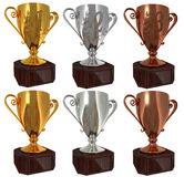 6 Winners cups. Six isolated winners cup. Gold, silver and bronze each in two versions Stock Image