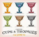 Winners Cups And Trophies For Game UI. Illustration of a set of funny cartoon gold award winner cups, and prizes in different levels and categories, for game ui Stock Photo