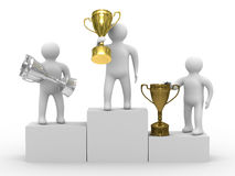 Winners with cups on white background. Isolated 3D image Stock Photography