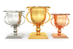 Winners cups. On white background. 3d rendered image Royalty Free Stock Photos