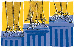 Winners' feet on ascending pedestals or steps. A illustration with hand-drawn qualities that features the feet and legs of winners on ascending pedestals/columns vector illustration