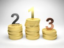 Winners on Gold Coins. 3d render illustration of winners podium made from stacks of gold coins, with first, second, and third position in gold, silver, and Royalty Free Stock Image